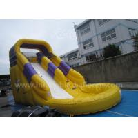 China 6 X 3 X 3m Yellow Inflatable Bouncer Slide / Giant Inflatable Castle Slide With Pool wholesale