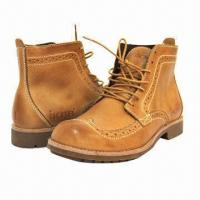 China Men's High Boots, British Pop Style, Leather Winter Shoes, Wearable Rubber Sole, Men's Leisure Shoes  wholesale