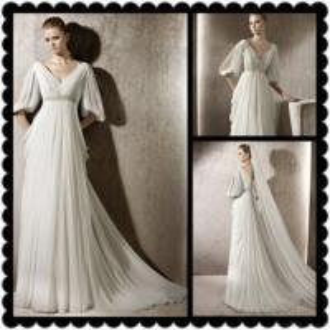 China Short Sleeve Chiffon Bridal Wedding Dresses on sale