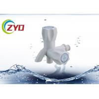 China Lead Free White Bibcock Taps Two Way Handle Wall Mounted Installation on sale