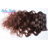 China Cherry Red / Burgundy Body Wave Remy Clip In Hair Extension 30 Inch For Women wholesale