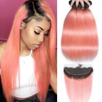 China Pink Front Ombre Human Hair Extensions Silk 10A Grade Tangle Free wholesale