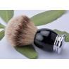 China Luxury metal base black handle silver tipped badger hair shaving brush 22mm wholesale