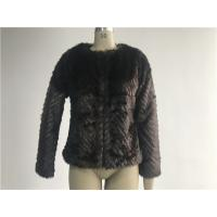 China Warm Womens Brown Faux Fur Jacket , Collarless Chubby Short Coat TWS019919 wholesale