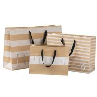 China 250gsm Brown Paper Shopping Bags , Commercial Paper Bags Clear Crease wholesale