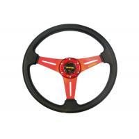 China Auto Accessories PVC Shell Deep Dish Steering Wheel 350 Mm With Aluminum Stand wholesale
