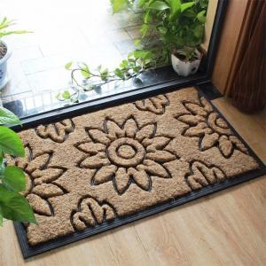 China Beautiful Flat Door Mat , Coconut Fiber Doormat Embossed Sunflower on sale