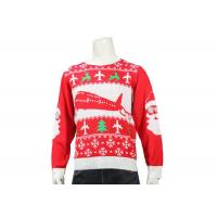 China Red Knitted Round Neck Office Ugly Christmas Sweater Long Sleeve Jacquard Pattern wholesale