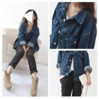 China Casual Style Sleeveless Womens Denim Jean Jackets Dark Blue Button Closure wholesale