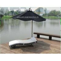 China Comfortable Folding Outdoor Patio Sun Loungers With White Cushion In Lake wholesale