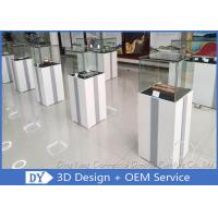 China MDF Square Custom Glass Display Cases  With Light / Museum Display Pedestals wholesale
