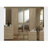 China Oak Wood Veneer Hotel Room Wardrobe Four Doors Large Size High Grade With Mirrors wholesale