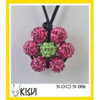 China Fashion shamballa pink and green beads necklace for children, women wholesale