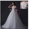 China Custom Detachable Strapless Mesh Appliques Wedding Dress with Diamond Beaded wholesale