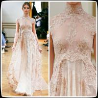 China Empire Lace Zuhair Murad Short Sleeves Evening Dress Chiffon Sexy Prom Gowns wholesale