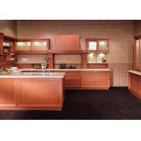 China Classic Wooden Grain Pvc Classic Design Kitchen Cabinet With Visible Handle wholesale