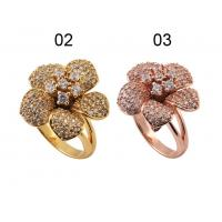 China 925 Serling Silver Flower Ring With Platinum / Gold / Rose Gold Plated At Factory Price wholesale