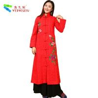 Quality Long Padded Women Embroidered Winter Coats Chinese Style With Single Breasted for sale