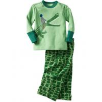 China 2 Piece Unisex Green footed 100% Organic Cotton childrenPjamas Set For Autumn on sale