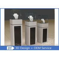 China Square Matte Black White Wooden Display Plinth With Small Cabinet wholesale