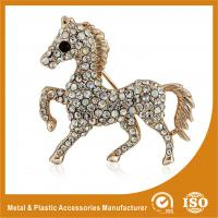 China Crystal Rhinestone Handmade Horse Brooches Jewellery Gold Plated on sale