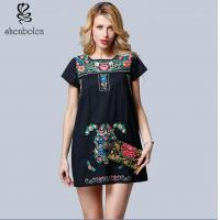 China Mini Length Womens Embroidered Floral Dress Short Sleeve Casual Dress on sale
