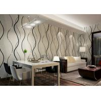 China Dining Room PVC Modern Removable Wallpaper With Black Wave Printing wholesale