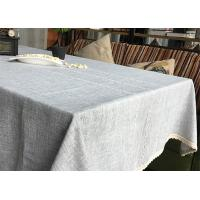 China Customized Patchwork Decorative Table Cloths Gray / Ivory Cotton Linen Tablecloths wholesale