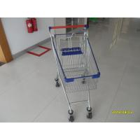 Buy cheap 80 L Steel Supermarket Shopping Carts With Blue Plastic Parts And Safety from wholesalers