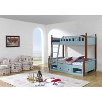 China Sky blue painting bunk bed for children bedroom in solid wood frame and MDF plate with storage drawers in apartment furn wholesale