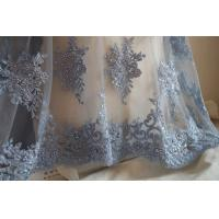 China Pale Blue Beaded 3D Flower Lace Fabric By The Yard For Wedding Dress wholesale