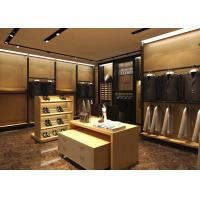 China Wood Grain Clothing Display Case Beige Coating Color For Men Suit Store wholesale