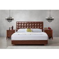 China Leather / Fabric Upholstered Headboard Bed for Apartment Bedroom interior fitment by Leisure Furniture with Wooden table wholesale