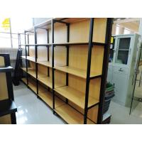 China Four Columns Metal And Wood Open Shelving, 50kg/ Layer Iron And Wood Shelving Unit on sale
