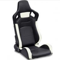 China PVC Adjustable White And Black Racing Seats / Sports Car Seat with single slider wholesale