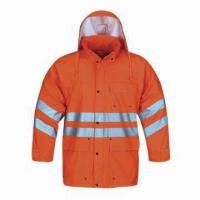 China High-visibility Raincoat for Adult, Made of PU, EN471 Standard wholesale