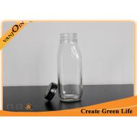 China Clear 10oz Decorative Glass French Square Bottles with Tamper Evident Cap for Milk wholesale