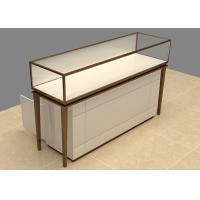 China Easy Install Custom Glass Display Cases Beige Wooden Stainless Steel Frame wholesale