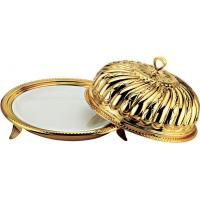 China SCC ZA-010 Royal Style Gold Plated Round Dinner Plate with Crown Shape Dome/Cover wholesale