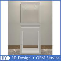 China Wholesale good quality wooden square matte white perspex display stands with fully locks lights wholesale