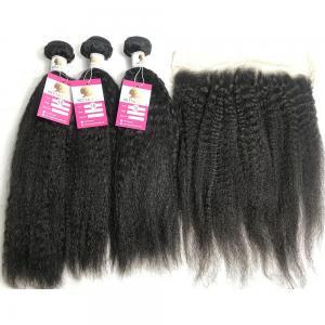 China 13x4 Lace Frontal Kinky Straight Peruvian Human Hair Weave 10A Grade wholesale