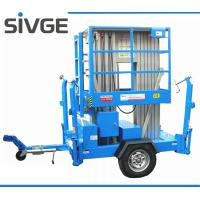 China 10m Hydraulic Trailer Mounted Lift Aluminium Alloy Dual Mast Mobile Aerial Platform wholesale