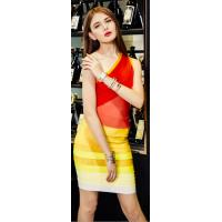 Buy cheap Back Zipper Orange Ombre One Shoulder Bandage Dress Mini For Women product