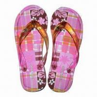 China Beach Flip-flop with EVA Sole, Cotton Insole and RoHS Marks, Made of Harmless Materials wholesale