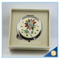 China Shinny Gifts Wholesale Colorful Rhinestones Flower Design Small Round Mirror wholesale