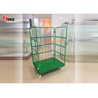 China Warehouse Foldable Turnover Trolley Logistics Cage Green Powder Coated on sale