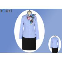 China Simple Durable Long Sleeve Blue Office Uniform For Office Wear wholesale