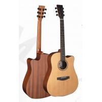 China Deluxe Cedar Solidwood Vintage Wood Acoustic Guitar with Daddario EXP16 String TP-AG58C wholesale