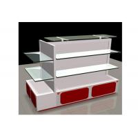 China White Gondola Shop Shelving With 2mm Thickness Glass Shelf , Recyclable Liquor Store Shelving wholesale