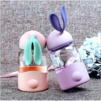 China 340ml Kids Rabbit Shaped Gift Unbreakable Glass Water Bottle With Silicone Sleeve wholesale